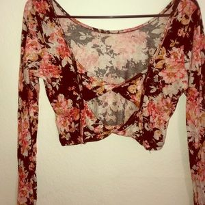 Fun flower crop top with unique open back
